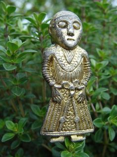Gold-plated silver figure, ca. 800 CE; probably represents Scandinavian fertility goddess Freyja. A recent (April 2014) metal detector find from a field near Revninge, on the north-east coast of the island of Funen, in central Denmark. Now in the Viking museum at Ladby.
