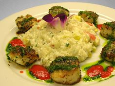 Herb Seared Scallops - Served with Roasted Vegetable Risotto. Drizzled with Scallion Herb Oil - see more featured Fresh Catch menu items at Reel Seafood Co. - www.reelseafoodco.com/menu/fresh-catch