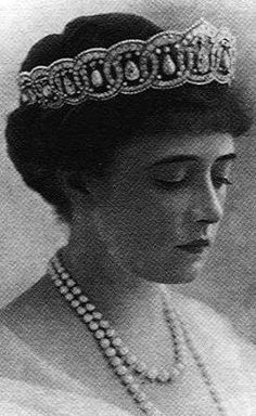 Princess Anastasia of Greece and Denmark, wife of Prince Christopher, wearing her Cartier Tiara, Greece (1911; made by Cartier; pearls, diamonds).