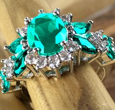 Exquisite Genuine austrian green 18k white gold filled high quality Ring. Starting at $1