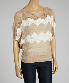 Another great find on #zulily! Beige & White Zigzag Dolman Top #zulilyfinds