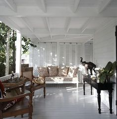 Veranda at King's Treat, a British Colonial home for rent on Harbour Island, The Bahamas.