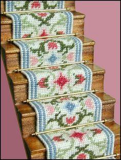 Carole (pastel) dollhouse needlepoint staircarpet kit