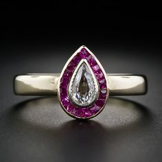 Art Deco Pear Shape Diamond and Calibre Ruby Ring, $1250 // what a sweet ring!