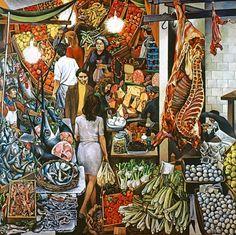 """kundst: """"Renato Guttuso (It. 1911-1987) La Vucciria (1974) (300x300 cm) """""""