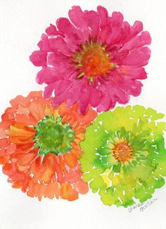 3 Bright Zinnias Watercolor Painting Original 5 by SharonFosterArt, $25.00