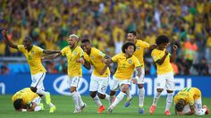 Brazil celebrate after defeating Chile in a penalty shootout