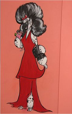 A Parti Girl in her long red dress, with a cocktail.  (Poodle Painting)