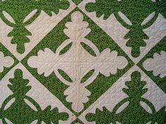Detail of Antique Handmade Oak Leaf and Reel Quilt, reverse applique, mid 1800's or early 1900's, seen on eBay at i_spy_design