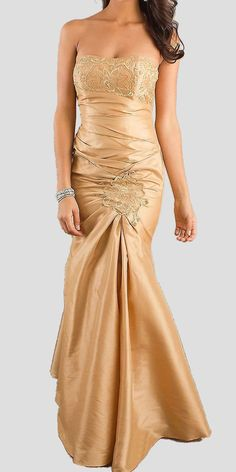 CLEARANCE - Gold Strapless Long Formal Dress Gathered Elegant Renaissance