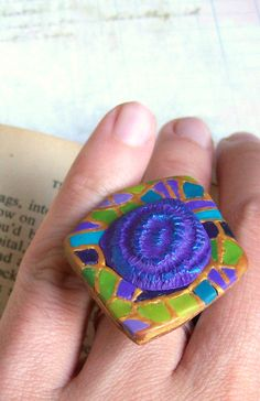 Art deco green blue cocktail ring polymer clay oversize statement ring in blue turquoise green purple and gold Gaudi inspired  HunkiiDorii quirky clay jewelry
