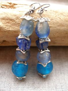 HOU African recycled glass blue and metal earrings by Fianaturals, $23.00