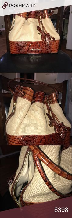 Brahmin has card and cover new used one time Great purse Brahmin has the roses on it two side poachers inside pockets totally of one big one and three small measure 11x13x10 great purse has code card and the dust bag Brahmin Bags Shoulder Bags