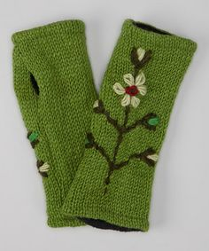 Take a look at this Green Flower Fingerless Gloves by November Warmth: Plus-Size Picks on @zulily today!