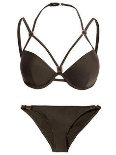 Strappy Plunge Bikini Set