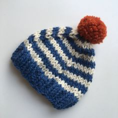 Items similar to Chunky striped baby winter hat age 3 - 6 months. Baby pompom hat in alpaca wool mix. on Etsy Hand Knitting, Knitting Patterns, Baby Winter Hats, Baby Shoe Sizes, Chunky Yarn, Pom Pom Hat, Alpaca Wool, Baby Booties, Knitted Hats