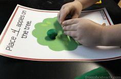 Compter Apple - motricité fine imprimable pour enfants d'âge préscolaire