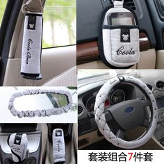 Hot sale Steering wheel cover Seat belts the rearview mirror hand brake gear set etc 7PCS car  AUTO parts accessories $50.00