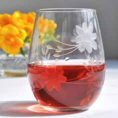 Hand engraved floral wine glass - glassware by Love & Victory
