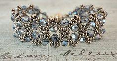 Linda's Crafty Inspirations: Bracelet of the Day: Bobble Bangle - Montana Blue Crystal
