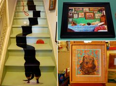 Anyone who owns a dachshund will appreciate the humor on this set of stairs.