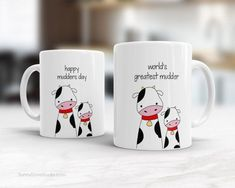 Coffee Mug For Mom Mother Funny Happy Birthday Mothers Day Worlds Greatest Best Gift Cow Mudder Pun Cute Fun Quote Kawaii Gifts Cups Mugs  Worlds Greatest Mudder. Happy Mudders Day. These cute mugs make a fun gift for Mom on her birthday Mothers Day or any day in between when you want to tell her just how great she is. This sweet mama cow and her little calf will put a smile on her face and make a sweet companion to any daily coffee routine!  Design is printed on both the front and back so…