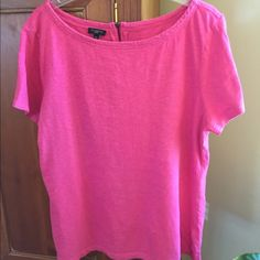 "🌟 Summer! 🌟 Hot pink Tee from Talbots This slub tee is very soft; 100% cotton; & machine washable. It shrunk a little already so you shouldn't have that problem. XL Petite. 24"" long & 21"" across chest. Bundle for further discount! Talbots Tops Tees - Short Sleeve"