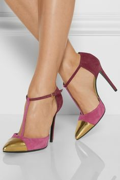Gucci - Color-block suede pumps