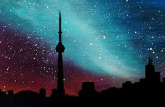 Toronto Skyline Silhouette City-scape Galaxy- Acrylic painting on canvas- 15 inches X 30 inches Additional notes: -Acrylic painting. -On