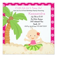 Luau Birthday Party Invitations Baby Hula Girl First Birthday Invitation