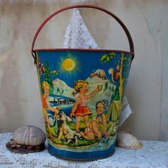 SALE 15 off  Vintage sand pail tin litho 1940s by oldkeysvintage, $140.25