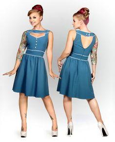 Vintage Flare Estelle Blue Dress by Folter - SALE sz 3X only