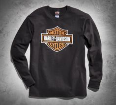 Proudly display your loyalty with this simple shirt. | Harley-Davidson Men's Declaration Bar & Shield Logo Long-Sleeve Tee