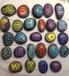 SNS DESIGNS creative lettering alphabet hand painted stones