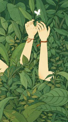 Green Wood Forest Love Butterfly Illustration Art #iPhone #6 #wallpaper