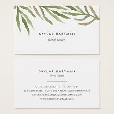 I love the simplicity of this, and the watercolor botanical illustration fits your kind of service super well. Cool Business Cards, Business Card Design, Lettering Design, Branding Design, Presentation Cards, Visiting Card Design, Name Card Design, Letterhead Template, Flower Tea