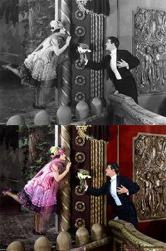 Norma Talmadge e Wallace MacDonald no filme A Grande Dama (The Lady, 1925) – Colorização  Colorizando http://colorizandopage.blogspot.com.br