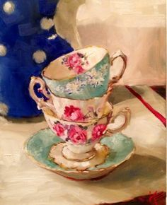 "Daily Paintworks - ""Tea Party"" by Krista Eaton"