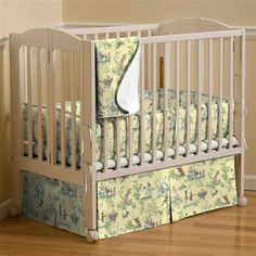 Mini crib bedding made in the USA by Carousel Designs. Unique portable crib and mini crib bedding sets for your baby girl or baby boy. Mini Crib Bedding, Crib Bedding Sets, Toddler Girl Bedding Sets, Crib Sets, Bed Bumpers, Baby Door, Quilt Set, Portable Crib, Yellow Nursery