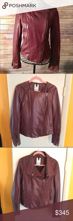 NWT Cognac Leather Jacket Brand new, never worn leather jacket. Super soft, luxurious feel. Genuine lamb skin. Cognac color. Detachable collar, various ways to zip. Zipper sleeves. NO TRADES. Happy to send more photos. Soïa & Kyo Jackets & Coats Blazers