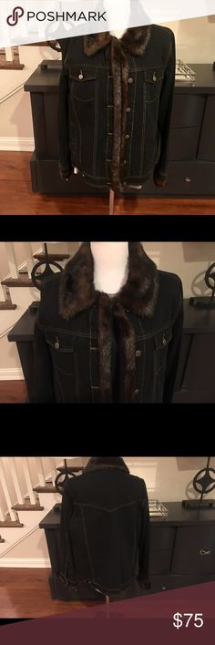 Chic Dennis Basso Faux Fur Denim Jacket Up for sale is a brand new with Tags Dennis Basso Faux Fur Denim Jacket. The jacket has a Faux Fur lining, six Button closures, interior and exterior pockets.  It is a warm jacket and will be your go to Jacket this winter. Dennis Basso Jackets & Coats Jean Jackets