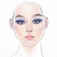 여름 메이크업 그리다 망쳤던거에 리터치 해보기 😇 #drawing #illustration #facechart #beautyillustration #bluemakeup