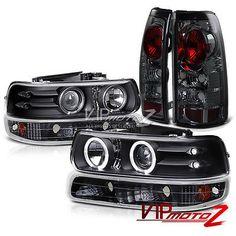 Black Halo Projector Headlight+Amber Signal+Smoke Tail Lamp 99-02 Silverado 1500