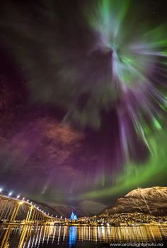 The Aurora Borealis in Tromsø, Norway lights up the sky with fantastic color during the long winter months! #Norge ☮k☮ #Norway