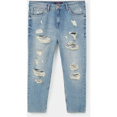 Boyfriend Claudia Jeans ($26) ❤ liked on Polyvore featuring jeans, bottoms, pants, denim, torn jeans, embellish jeans, ripped jeans, distressed denim jeans and ripped boyfriend jeans