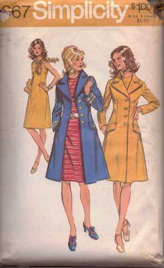 Simplicity 9867 Ladies Sleeveless Dress Coat Vintage Sewing Pattern #1970s #coat #dress #ladies #simplicity #vintage #patterns #sewing #retro #vintagestitching