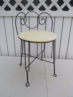 Wrought Iron Vanity metal vanity chair, boudior chair, make up chair, vintage chair