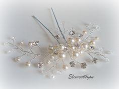 Bridal Hair Pin Large Fascinator Swarovski Ivory pearls Rhinestone accent crystals Hair vines Formal up do Wedding accessories. $32.00, via Etsy.
