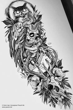 Half Sleeve Tattoos Sketches, Ocean Sleeve Tattoos, Half Sleeve Tattoos For Guys, Body Art Tattoos, Warrior Tattoos, Viking Tattoos, Egyptian Tattoo Sleeve, Japan Tattoo Design, Owl Tattoo Drawings