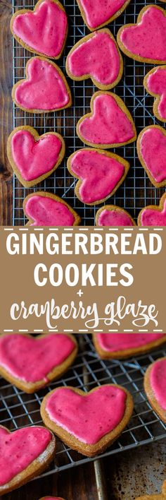 Gingerbread cut out cookies with cranberry glaze! @dessertfortwo